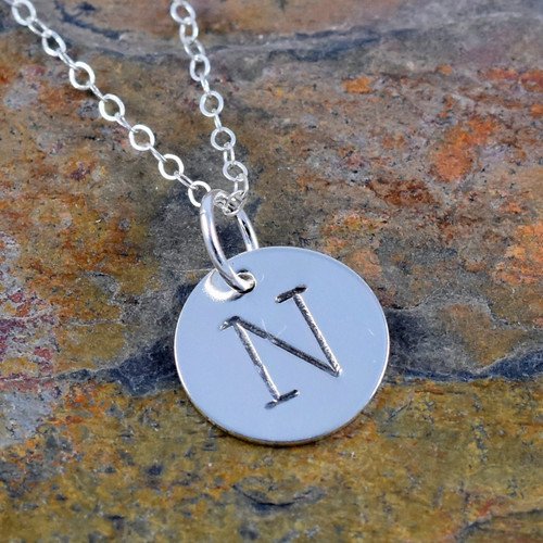 Sterling Silver Initial Necklace - Antique Typewriter |321SimpleCreations.com