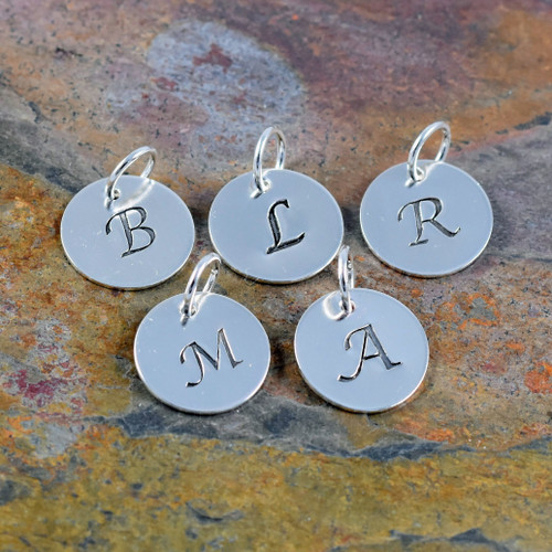 Sterling Silver Initial Charm - Lucida | 321SimpleCreations.com