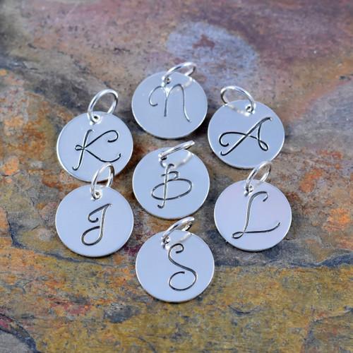 Sterling Silver Initial Charm - Daniela | 321SimpleCreations.com