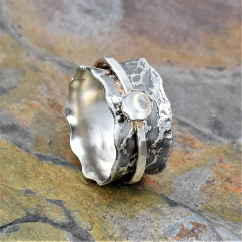 Sterling Silver Moonstone Spinning Band Ring