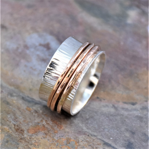 Sterling Silver Band with Rose Gold Filled Spinning Bands