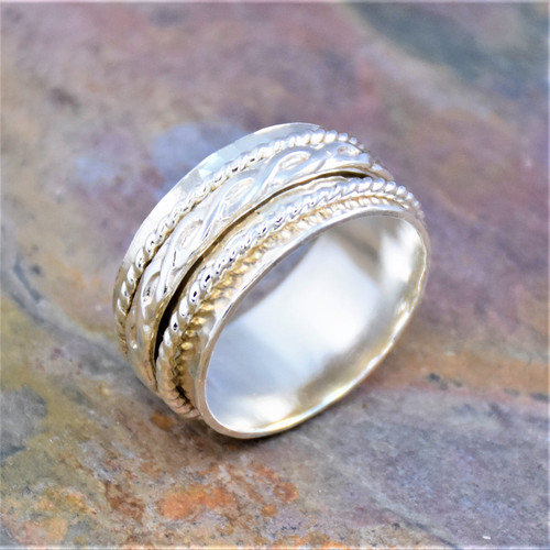 Sterling Silver Keltic Knot Decorative Wire Spinning Band Ring