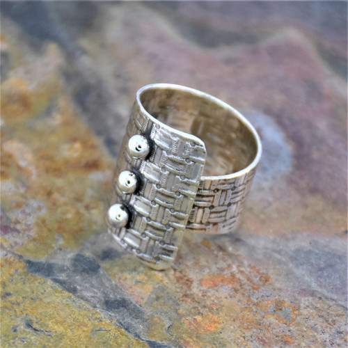 Sterling Silver Adjustable Wrap Ring with Basket Weave Texture