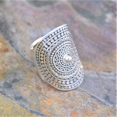 Sterling Silver Adjustable Cuff Wrapping Ring with Concentric Circle Pattern