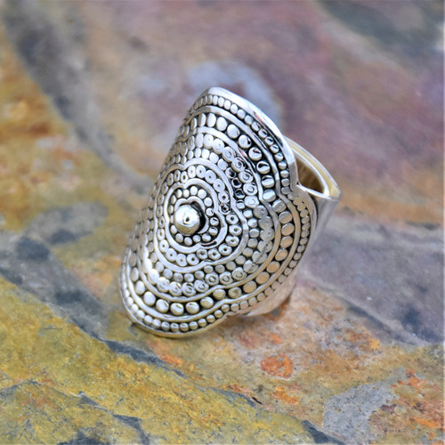 Sterling Silver Adjustable Cuff Wrapping Ring with Concentric Flower Pattern