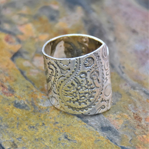 Sterling Silver Adjustable Wrap Ring with Paisley Texture