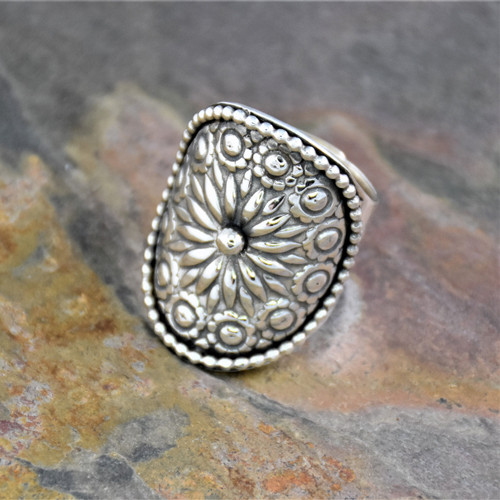 Sterling Silver Adjustable Cuff Wrapping Ring with Ferris Wheel Pattern
