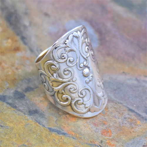 Sterling Silver Adjustable Cuff Wrapping Ring with Swirl Vine Design