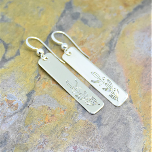 Winter Garland Design Rectangle Sterling Silver Stamped Earrings