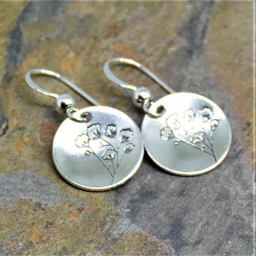 Baby's Breath Round Sterling Silver Earrings