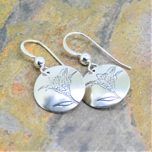 Lily Flower Sterling Silver Earrings