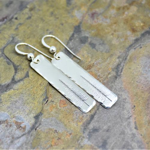 Tall Winter Evergreen Tree Sterling Silver Earrings
