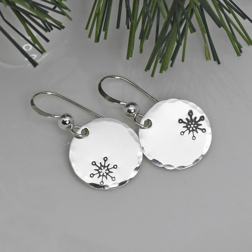 Sterling Silver Offset Snowflake Earrings