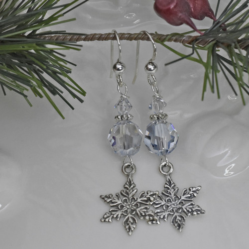 Sterling Silver Swarovski Blue Shade Crystal Earrings