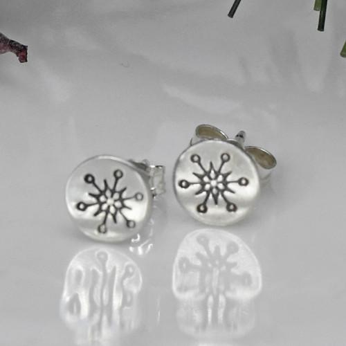Sterling Silver Stamped Snowflake Post Earrings