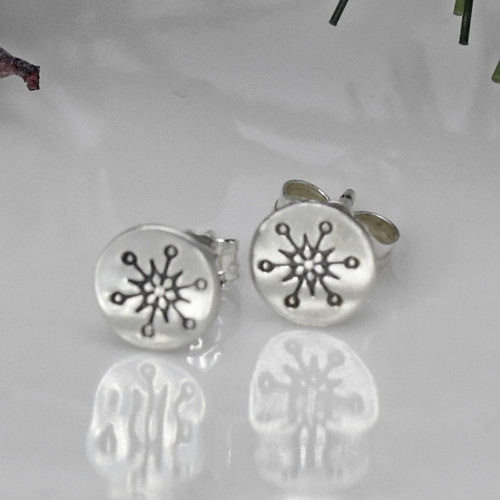 Sterling Silver Stamped Snowflake Post Earrings