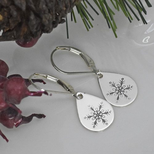 Sterling Silver Snowflake Teardrop Earrings