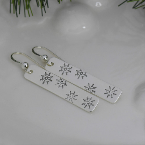 Sterling Silver Long Rectangle Snowflake Earrings