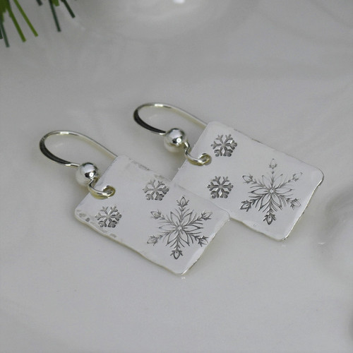 Sterling Silver Rectangle Snowflake Earrings