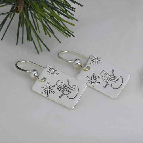 Sterling Silver Rectangle Snowman Earrings