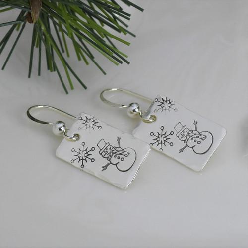 Sterling Silver Rectangle Snowman Earrings