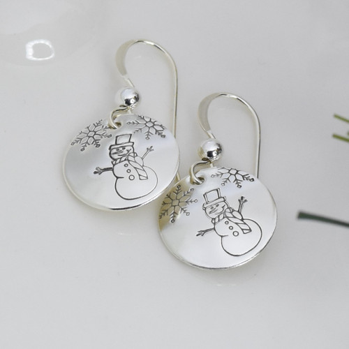 Sterling Silver Round Snowman Earrings