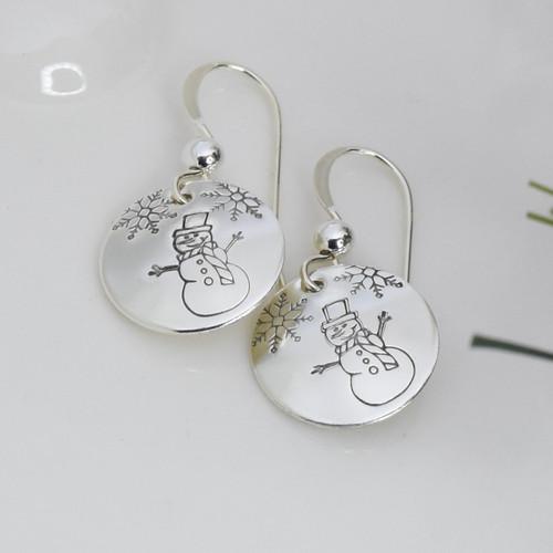 Sterling Silver Round Snowman Earrings