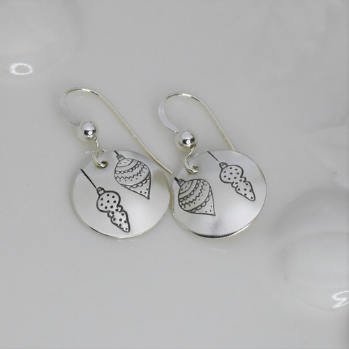 Sterling Silver Round Ornament Earrings