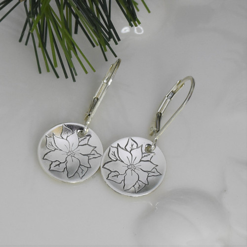 Sterling Silver Poinsettia Flower Earrings