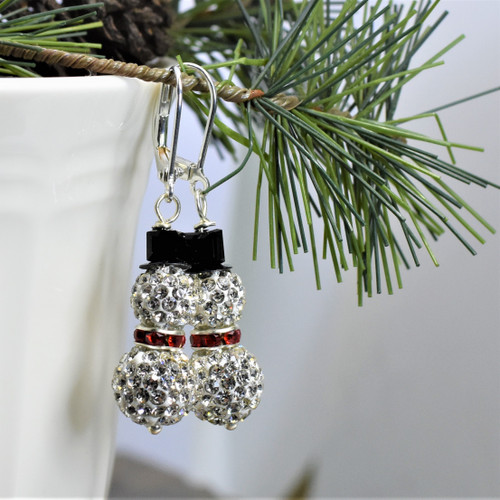 Rhinestone Disco Ball Snowman Earrings