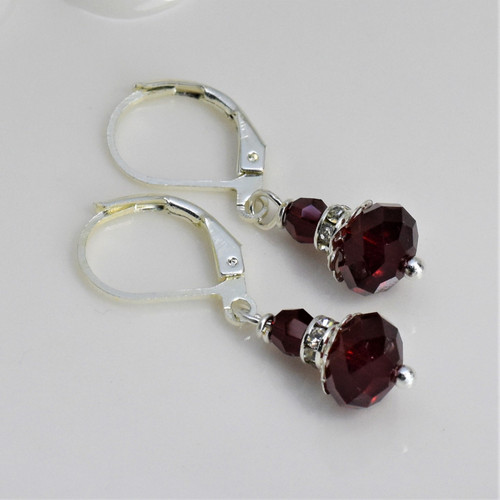 Elegant Mrs. Claus Earrings - Swarovski Crystal