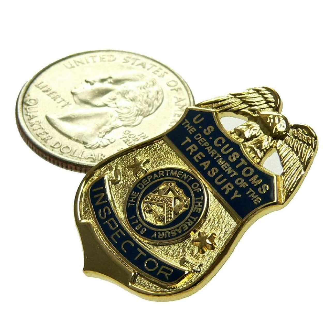 US U S Customs Inspector Mini Badge Patch Commemorative 2 Pin Set