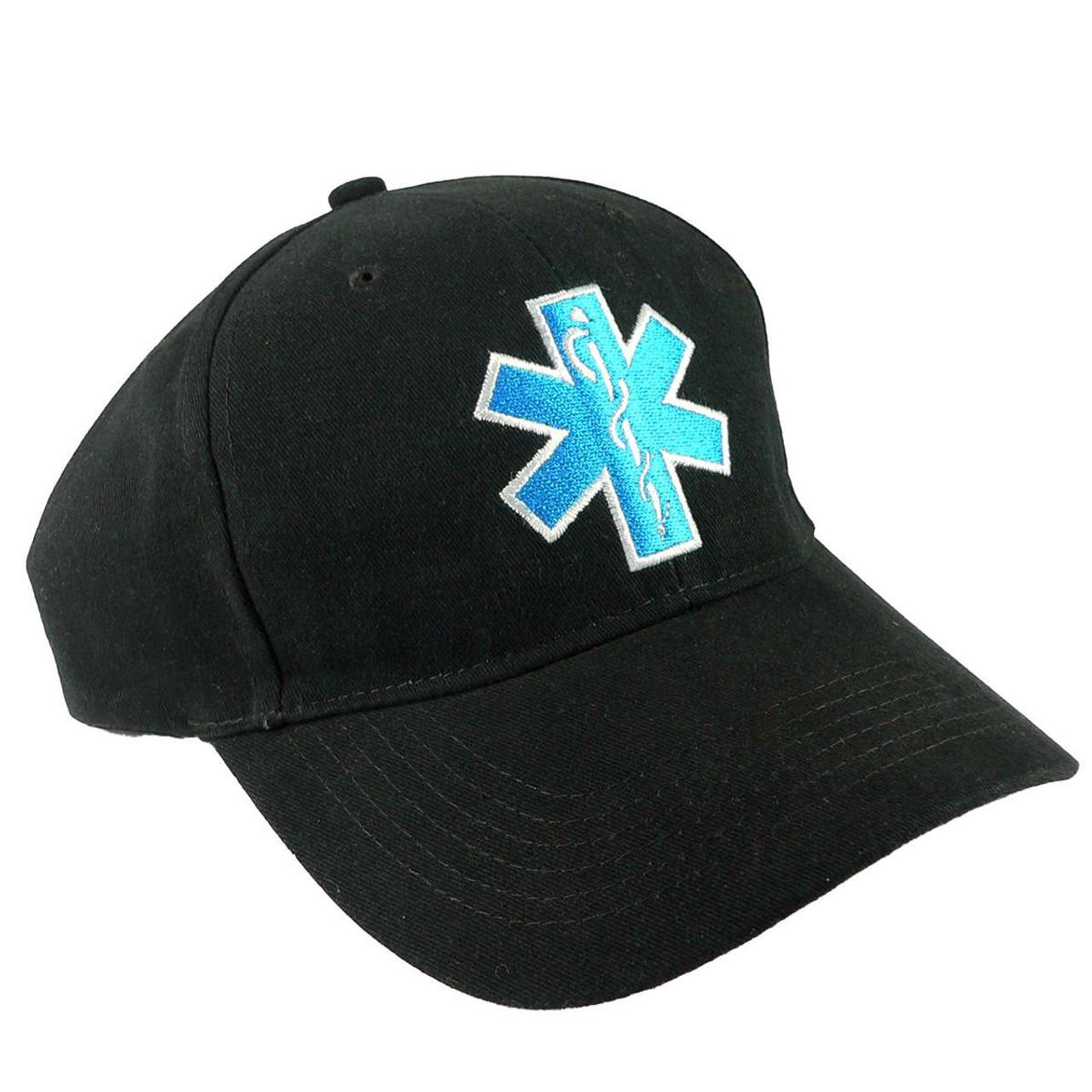 671417efa2b Black Low Profile Star of Life EMT EMS Baseball Cap