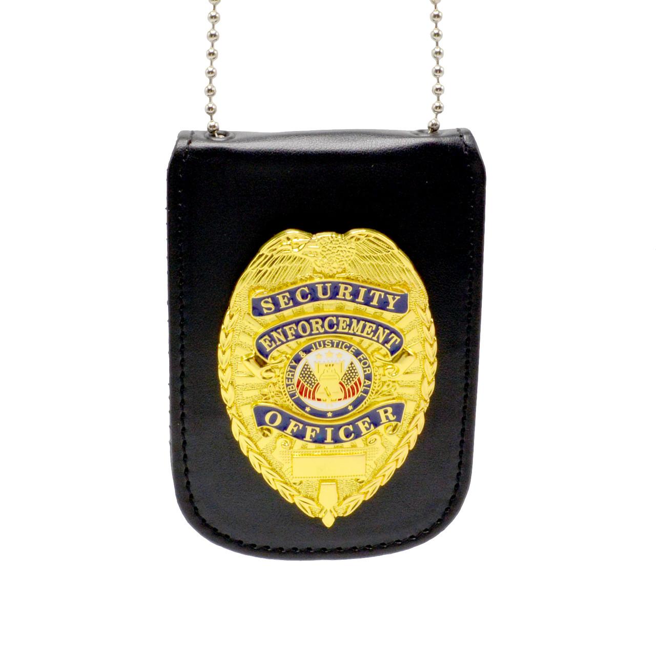 Cobra Tufskin Universal Concealed Carry Badge Holder Neck Chain Black Leather