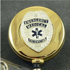 Gold EMT Emergency Medical Technician Badge Retractable ID Reel
