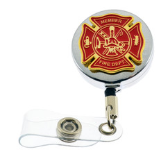 Fire Department Maltese Cross Retractable Badge Reel
