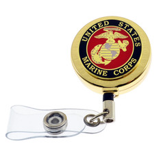 US Marine Corps Military Retractable ID Holder Badge Reel