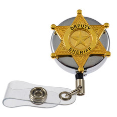 Deputy Sheriff Badge Retractable ID Card Holder Badge Reel