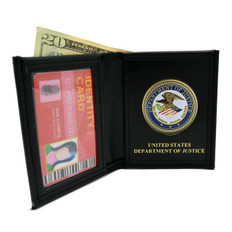 DOJ Department of Justice Mens Black Leather Bi Fold Billfold Wallet