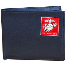 U S Marine Corps Bifold Leather Wallet with USMC Emblem