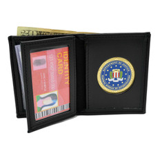 FBI Federal Bureau of Investigation Medallion Bi-fold Men's Leather Wallet