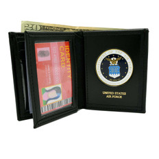 U S Air Force Medallion Bi-fold Men's Leather Wallet