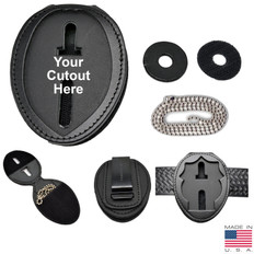 Perfect Fit Recessed Belt Clip Badge Holder with Pocket and Neck Chain