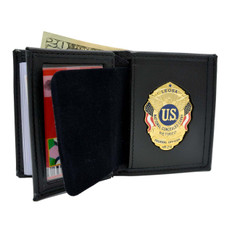 LEOSA Concealed Carry Badge Bi-fold Men's Leather Wallet