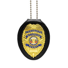 Concealed Weapons Permit Clip On/Neck Chain Leather Holder & Badge