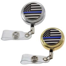 Thin Blue Line Flag Police Retractable Badge Reel ID Holder