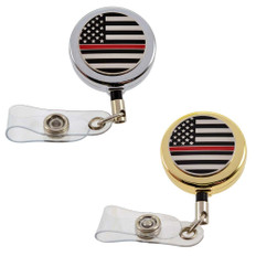Thin Red Line Flag Firefighter Retractable Badge Reel ID Holder