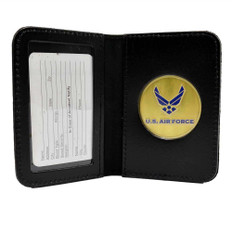 Air Force Wings Logo Leather Single ID Card Holder