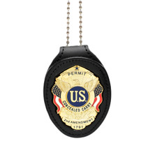 Concealed Carry Permit Clip On Belt Neck Chain Leather Badge Holder