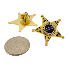 Police Officer 5 Point Star Mini Badge Lapel Pin